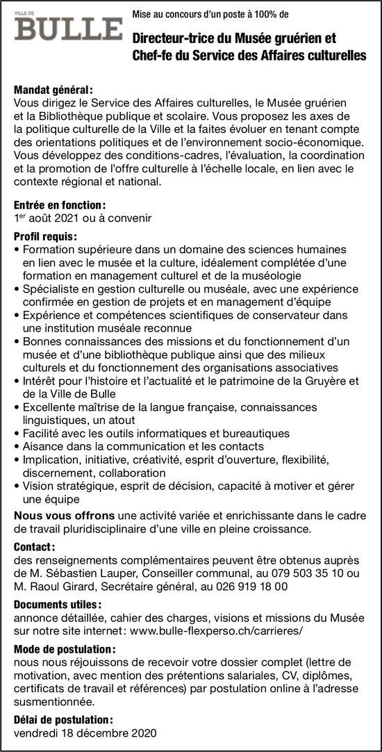 Directeur-trice du Musée gruérien et Chef-fe du Service des Affaires culturelles, Ville de Bulle, recherché