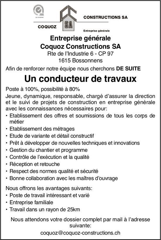 Un conducteur de travaux 80 à 100%, Coquoz Constructions SA, Bossonnens, recherché
