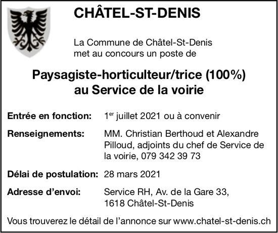 Paysagiste-horticulteur/trice (100%) au Service de la voirie, Chatel-St-Denis, recherché