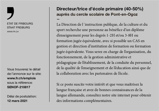 Directeur/trice d'école primaire (40-50%), Etat de Fribourg, Pont-en-Ogoz, recherché