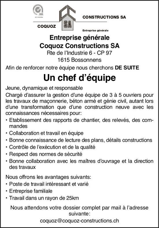 Un chef d'équipe, Coquoz Construction SA, Bossonnens, recherché