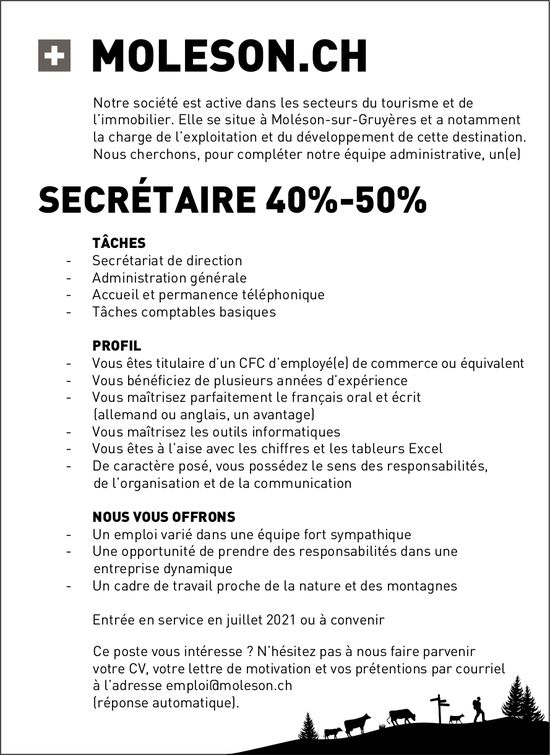 SECRÉTAIRE 40%-50%, Moleson, recherché