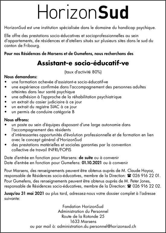 Assistant-e socio-éducatif-ve (taux d'activité 80%), Fondation HorizonSud, Marsens, recherché