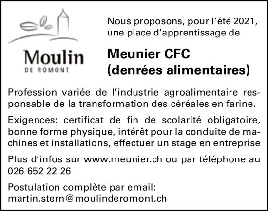 Meunier CFC (denrées alimentaires), Meunier, Romont, recherché
