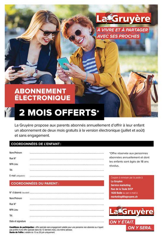 La Gruyère - Abonnement électronique 2 mois offerts