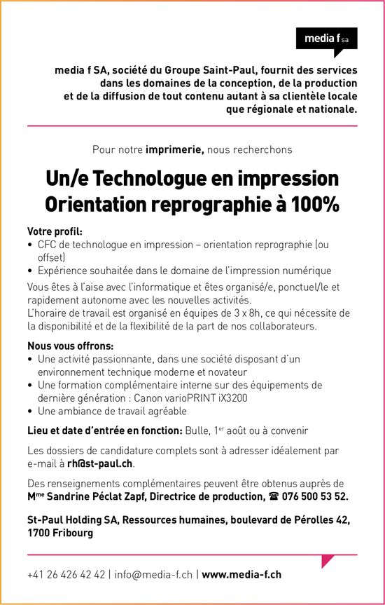 Un/e Technologue en impression Orientation reprographie à 100%, media f SA, Fribourg, recherché