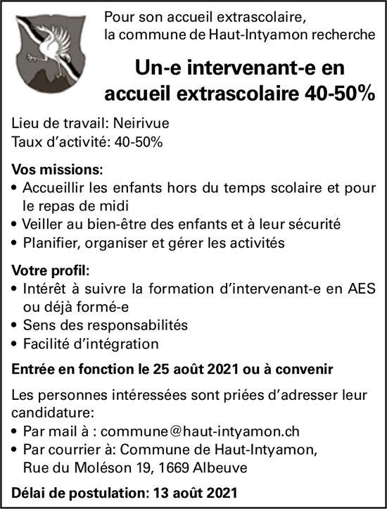 Un-e intervenant-e en accueil extrascolaire 40-50%, commune de Haut-Intyamon, Albeuve, recherché