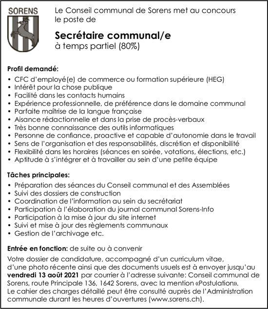 Secrétaire communal/e temps partiel (80%), Conseil communal, Sorens, recherché