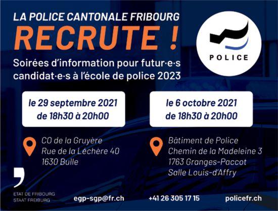 La Police Cantonale Fribourg, Bulle, recherché