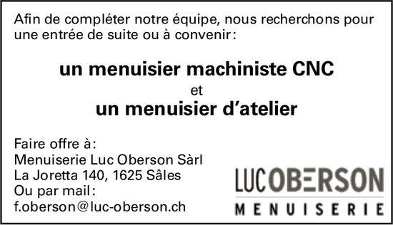 Un menuisier machiniste CNC un menuisier d'atelier, Luc Oberson Sàrl, Sâles, recherché