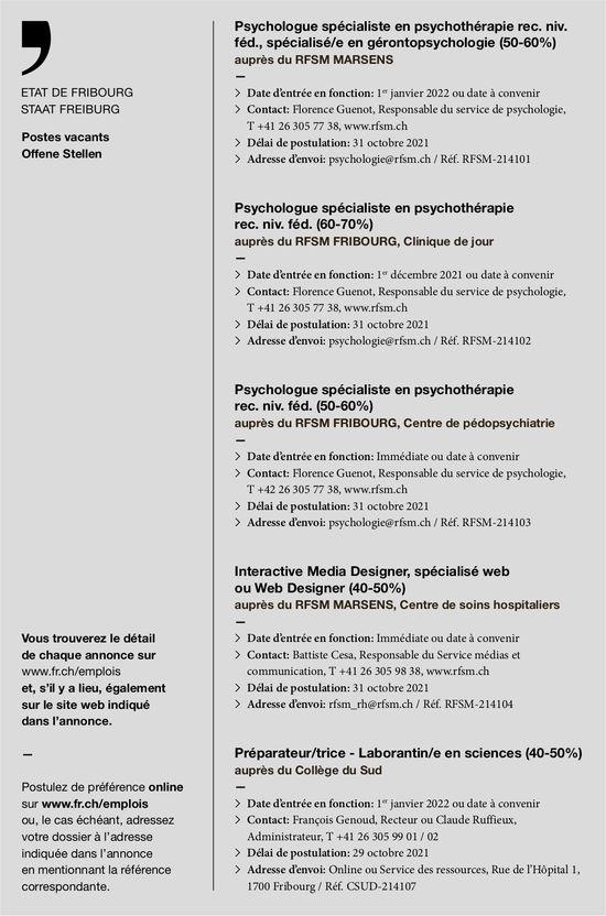 Psychologue spécialiste en psychothérapie rec. niv. féd., spécialisé/e en gérontopsychologie (50-60%) Psychologue spécialiste en psychothérapie rec. niv. féd. (60-70%), Rfsm, Fribourg,  recherché