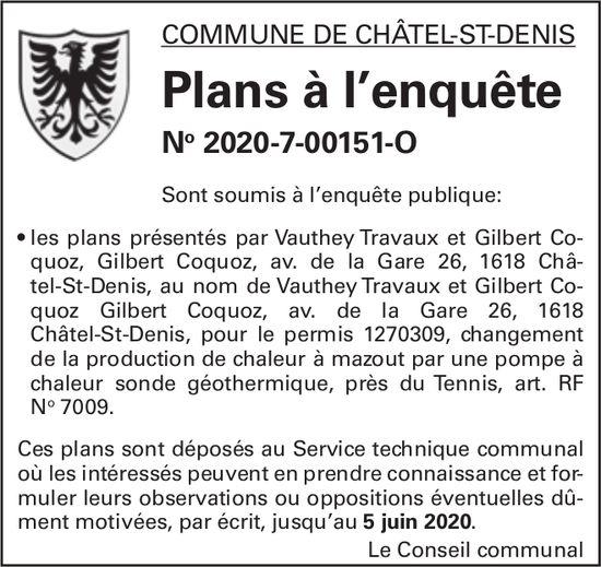 Plans à l'enquête No 2020-7-00151-O - Commune de Châtel-St-Denis