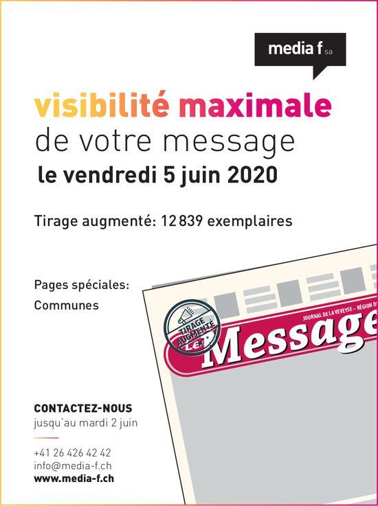 Le Messager - visibilité maximale de votre message le vendredi 5 juin