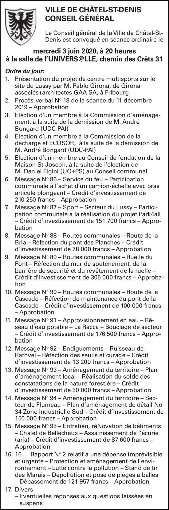 CONSEIL GÉNÉRAL, 3 juin, Salle universelle, Châtel-St-Denis