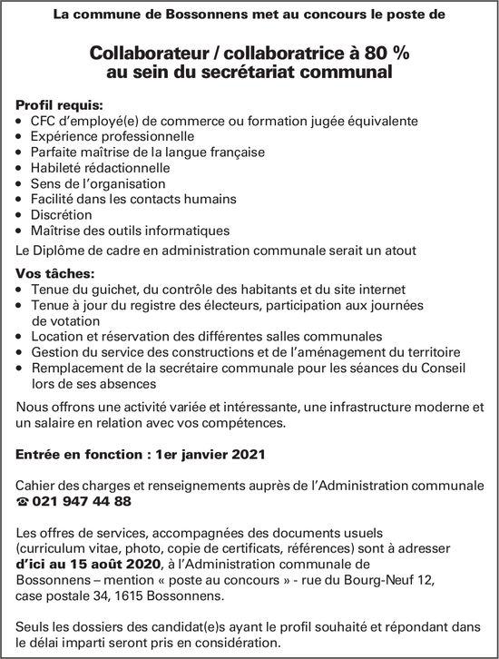 Collaborateur / collaboratrice à 80 % au sein du secrétariat communal, Commune de Bossonnens