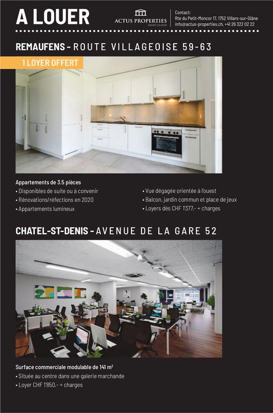 Appartements 3.5 pièces et surface commerciale, Remaufens, à Louer