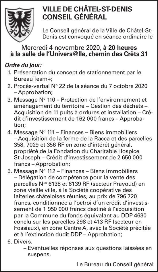CONSEIL GÉNÉRAL, 4 NOVEMBRE, SALLE UNIVERSELLE, VILLE DE CHÂTEL-ST-DENIS