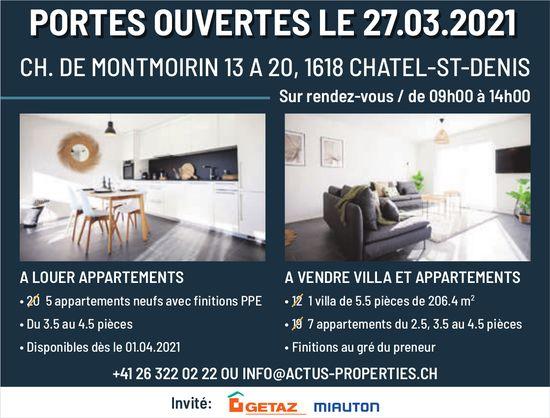 Portes Ouvertes Le 27 mars, Chatel-St-Denis, à louer