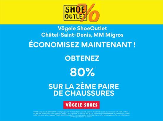 VÖGELE SHOES, Châtel-St-Denis, Obtenez 80% sur la 2ème paire de chaussures