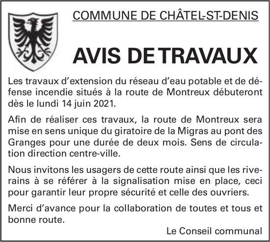 AVIS DE TRAVAUX - COMMUNE DE CHÂTEL-ST-DENIS