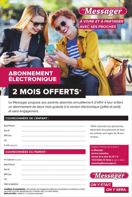 Le Messager, Abonnement électronique 2 mois offerts