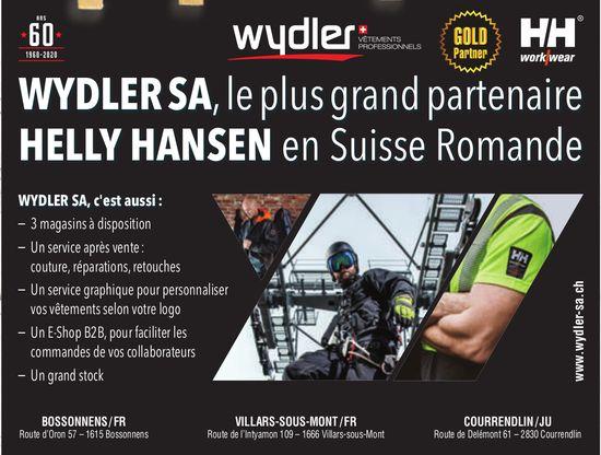 Wydler SA,  Bossonnens - le plus grand partenaire de Helly Hansen en Suisse Romande
