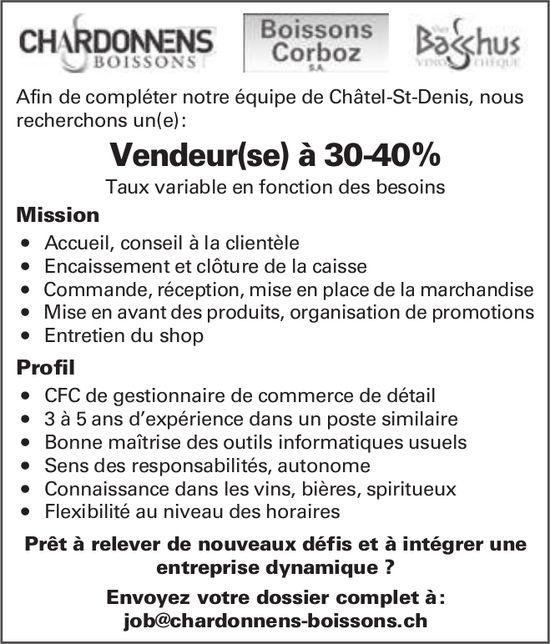 Vendeur(se) à 30-40%, Chardonnens Boisson, Châtel-St-Denis,  recherché