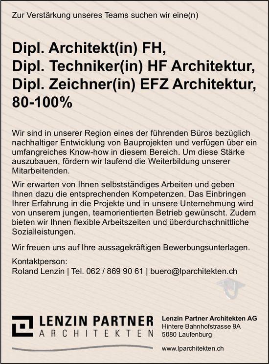 Architekt(in), Techniker(in)/ Zeichner(in) Architektur gesucht, Lenzin Partner Architekten AG
