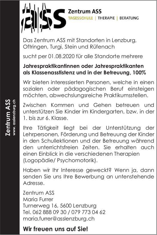 Jahrespraktikanten als Klassenasstistenz und in der Betreuung gesucht, Zentrum ASS, Lenzburg
