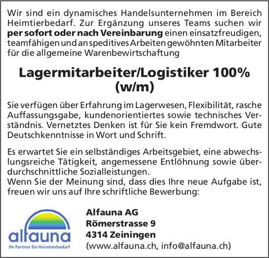Lagermitarbeiter/Logistiker 100% (w/m), Alfauna AG, Zeiningen, gesucht