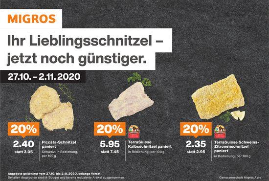 Genossenschaft Migros Aare - Ihr Lieblingsschnitzel – jetzt noch günstiger.
