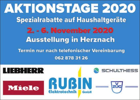 Aktionstage 2020 Spezialrabatte auf Haushaltgeräte, 2.-6. November, Ausstellung in Herznach