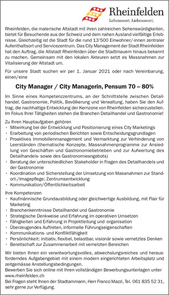 City Manager / City Managerin, Pensum 70 – 80%, Stadt Rheinfelden, gesucht