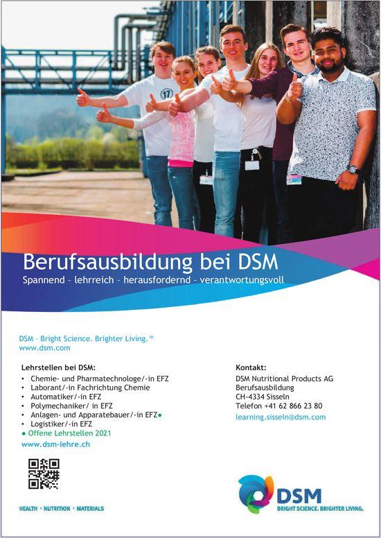 Lehrstellen bei DSM, DSM Nutritional Products AG, Sisseln, zu vergeben