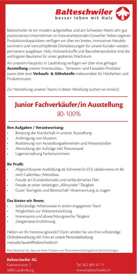 Junior Fachverkäufer/in Ausstellung 80-100%, Balteschwiler AG, Laufenburg, gesucht