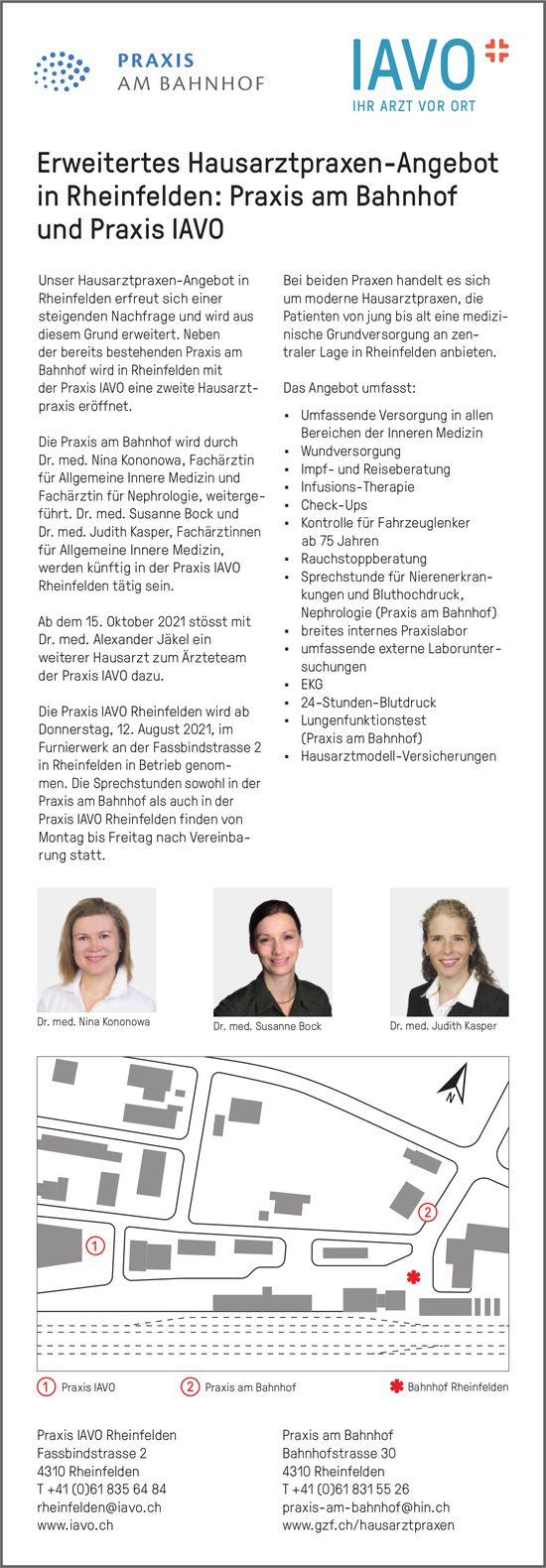 Erweitertes Hausarztpraxen-Angebot in Rheinfelden: Praxis am Bahnhof und Praxis Iavo