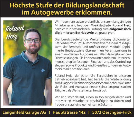 Langenfeld Garage AG, Oeschgen-Frick - Höchste Stufe der Bildungslandschaft im Autogewerbe erklommen.