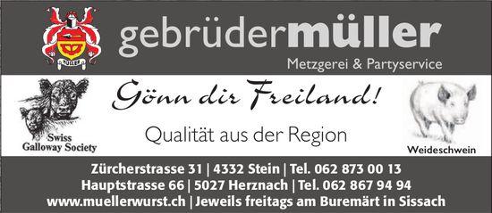 Gebrüder Müller, Metzgerei & Partyservice, Herznach - Qualität aus der Region