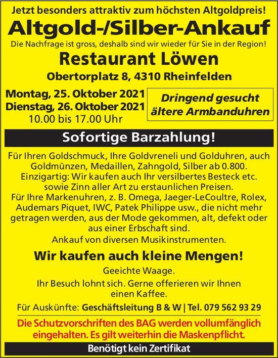 Altgold-/Silber-Ankauf, 25./26. Oktober, Rheinfelden