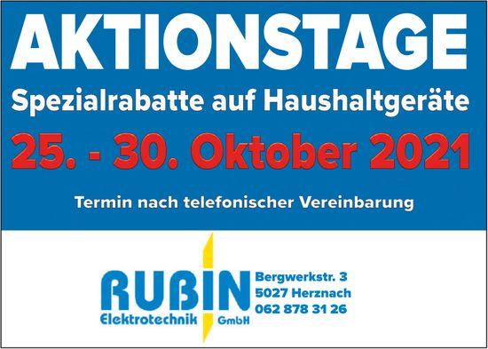 Aktionstage - Spezialrabatte auf Haushaltgeräte, 25. - 30. Oktober, Rubin Elektrotechnik GmbH, Herznach