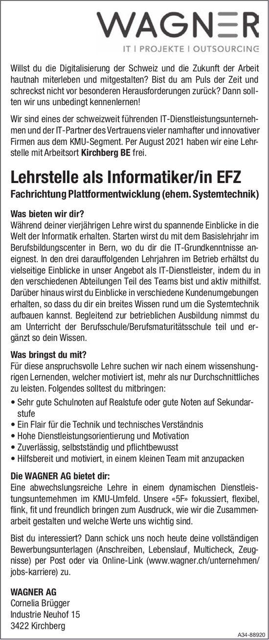 Lehrstelle als Informatiker/in EFZ bei Wagner AG zu besetzen