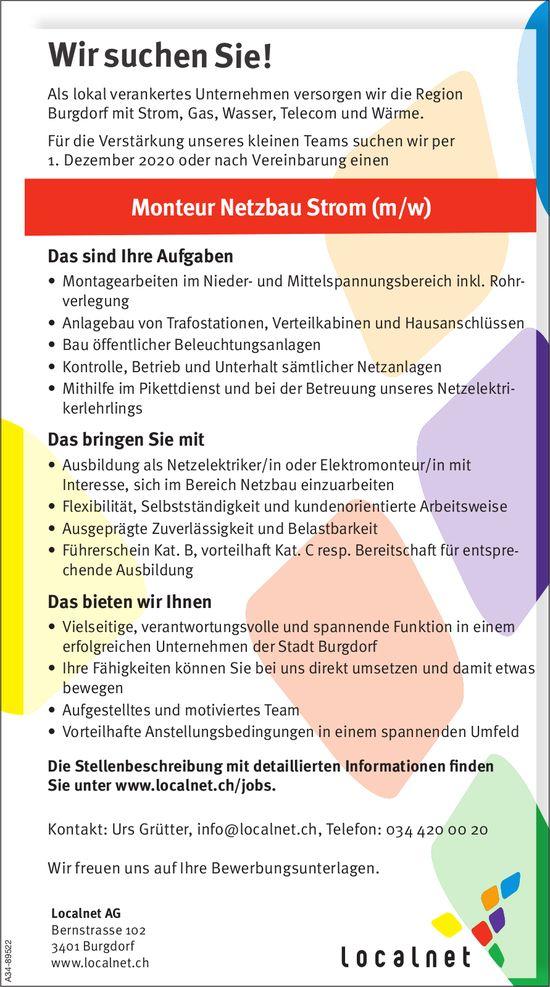 Monteur Netzbau Strom (m/w), Localnet AG, Burgdorf, gesucht
