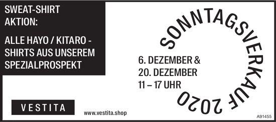 Vestita - Sonntagsverkauf 6. & 20. Dezember, 6. Dezember