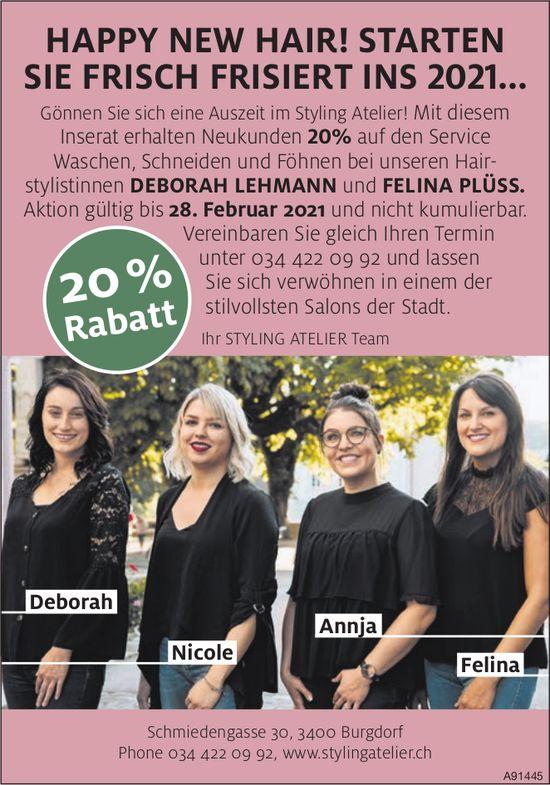 Styling Atelier, Burgdorf - Happy New Hair! Starten Sie Frisch Frisiert Ins 2021... 20% Rabatt