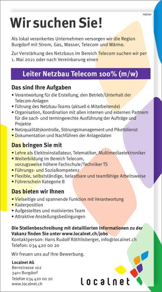 Leiter Netzbau Telecom 100% (m/w), Localnet AG, Burgdorf, gesucht