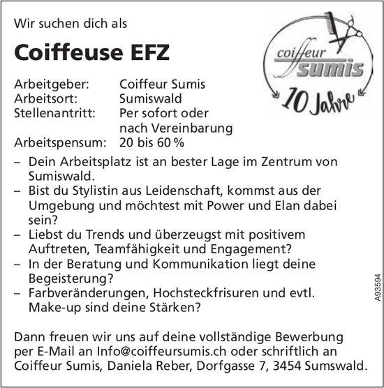 Coiffeuse EFZ 20 bis 60%, Coiffeur Sumis, Sumiswald, gesucht