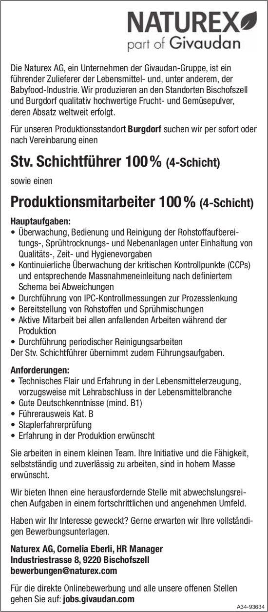 Stv. Schichtführer 100 % sowie Produktionsmitarbeiter 100 %, Naturex AG, Bischofszell, gesucht