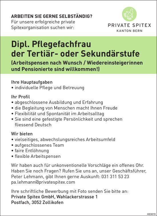 Dipl. Pflegefachfrau der Tertiär- oder Sekundärstufe, Private Spitex GmbH, Zollikofen, gesucht