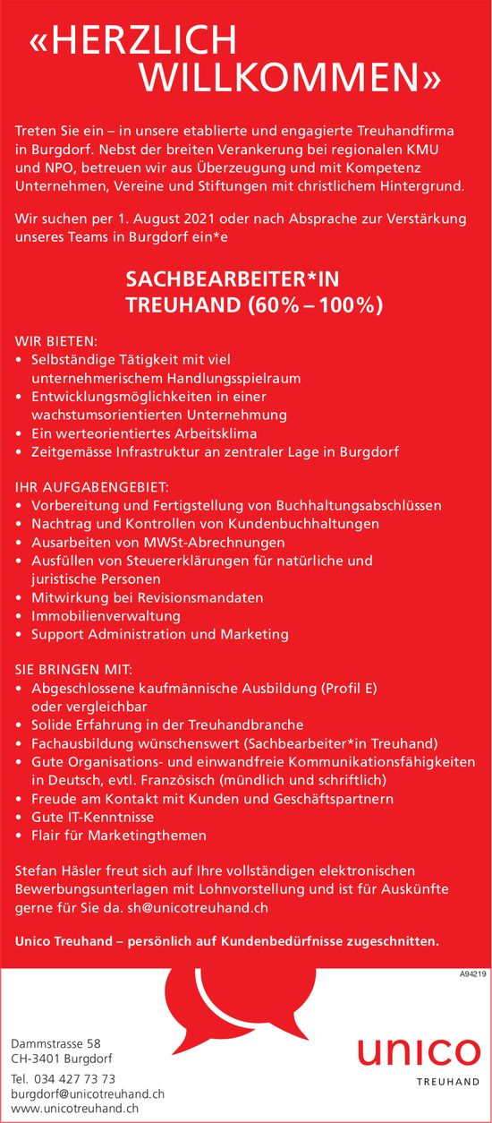 Sachbearbeiter*in Treuhand (60%–100%), Unico Treuhand, Burgdorf, gesucht