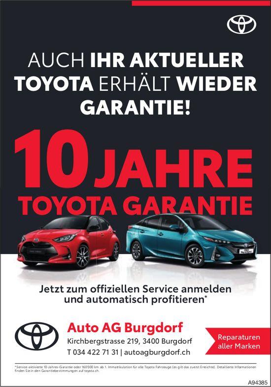 Auto AG, Burgdorf - Auch Ihr aktueller Toyota erhält wieder Garantie!